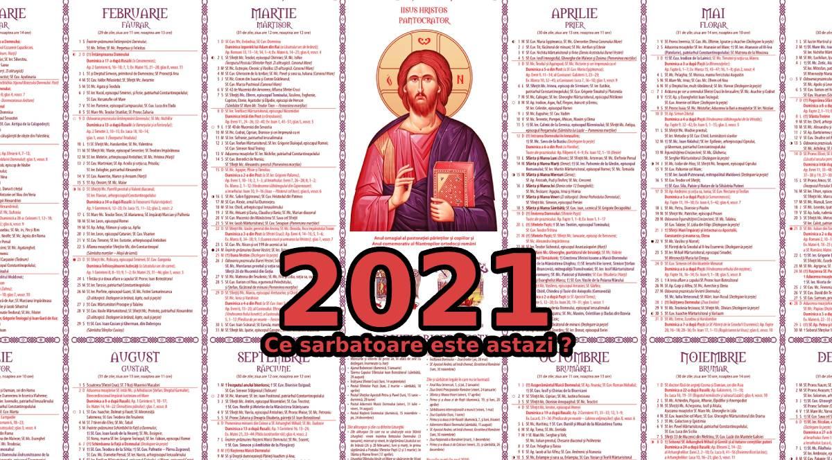 Ce sarbatoare e azi –  Calendarul Ortodox 2021